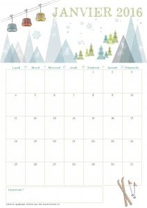 janvier 2016. Super joli calendrier mois par mois à imprimer