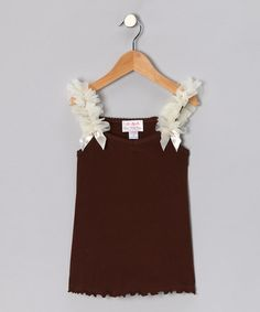 Take a look at this Brown & Ivory Ruffle Tank - Infant, Toddler & Girls by Oopsy Daisy Baby on #zulily today!