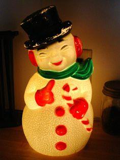 VINTAGE CHRISTMAS BLOW MOLD LIGHT UP SNOWMAN By Prairieantiques