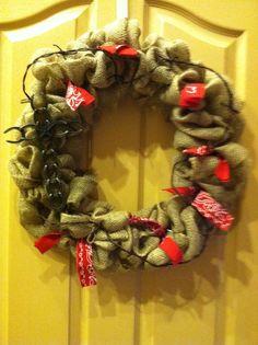 Cowboy inspired burlap wreath