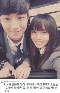 Nam Joo Hyuk and Kim So Hyun on set of School 2015 love kdrama Korean Actresses, Korean Actors, Actors & Actresses, Korean Idols, Jong Hyuk, Lee Jong Suk, Drama Korea, Korean Drama, Who Are You School 2015