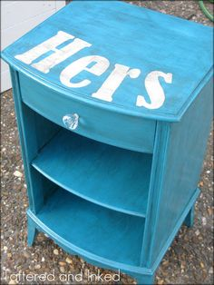 His and Hers night stand. Would like them light grey with white stencil, but cute idea