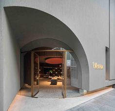 Neri&Hu's atmospheric Valextra store is based upon the layout of a library Entrance Design, Facade Design, Door Design, Exterior Design, Interior And Exterior, House Design, Retail Facade, Shop Facade, Commercial Design