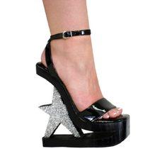 6 Patent Leather Star Heeled Platform Heels by ATTITUDEBOUTIQUE,