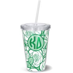 Floral Tumbler Kd Kappa Delta Sorority Gift Sorority Tumbler ($12) ❤ liked on Polyvore featuring drink & barware, home & living, kitchen & dining and light blue