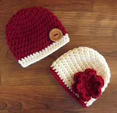Crocheted Baby Twin Boy/Girl Hat Set ~ Cranberry Red & Cream/Ecru ~ Baby Shower Gift ~ Sizes Newborn to 24 Months - MADE TO ORDER by KaraAndMollysKids on Etsy