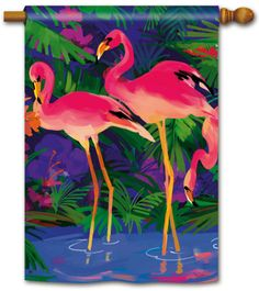 """SnapDragonFlags.com What's better than a Pink Flamingo on your lawn? Why, a pair of Pink Flamingos on a colorful house or garden size flag of course. Designed by artist Martha Collins and is available in the garden flag size [12.5"""" x 18""""] and standard house flag size [28"""" x 40""""].  Also available in a mailbox cover and a doormat."""