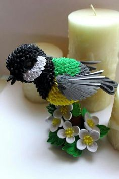 pretty 3-D quilled chickadee