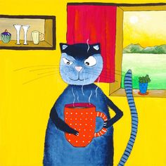 Original funny bright kitchen painting - CAT ART.