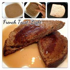 tostada francesa light: leche des, 1 cda whey protein, canela, stevia y 1 clara de huevo, mojar pan integral y calentar sartén de teflón. Acompañar con syrop sin azucar o mermelada