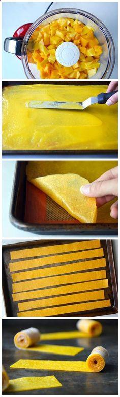 Healthy Homemade Mango Fruit Roll-Ups. No sugar added. Just fruit.