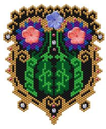 Floral Fantasy Necklace.  Add crystals and flower beads for surface embellishment. Add fringe and strap as desired. Graph provided in color code mode with list of Delicas needed, thumbnail.  9 colors  Project Type: Bead Stitch: Brick/peyote