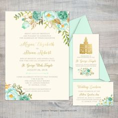 Pretty mint floral boho wedding invitations.  Pretty mint green flowers with classic fonts.  Customize to your desired colors for your wedding day.  LDS Temple wedding invitation with the St. George Utah Temple.  Created by Jeneze Designs.