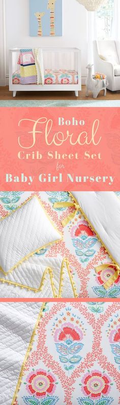 New ideas baby nursery princess crib sheets Nursery Crib, Girl Nursery, Girl Room, Nursery Decor, Babies Nursery, Boho Nursery, Nursery Ideas, Baby Girl Bedding, Baby Girl Quilts