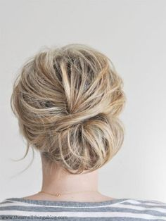This low, beachy chignon from The Small Things Blog is perfect for hair that falls just above shoulder length. #Prom #Hairstyles