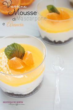 Mascarpone mousse, chocolate crumble and orange gelè Verrine