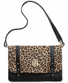 Tommy Hilfiger Handbag, Ivy Prep Leather Convertible Haircalf Shoulder Bag