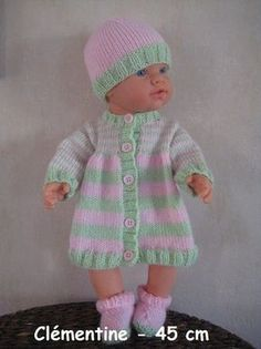 Knitting Dolls Free Patterns, Knitted Dolls Free, Knitting Dolls Clothes, Baby Patterns, Baby Born Kleidung, Tricot Baby, Baby Born Clothes, Preemie Babies, Doll Clothes Barbie