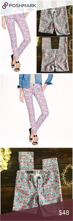 "J.Crew Liberty toothpick jean Matilda tulip floral No offense to indigo, but we're absolutely obsessed with our new printed toothpick jean. In the same skinny ankle fit as the original, it features a colorful floral from London's Liberty Art Fabrics.  hand-sketched tulip print . * True to size * Sits lower on hips. * Slim through hip and thigh, with a skinny, cropped leg. * Cotton with a hint of stretch  Excellent Used Condition.     $150.00   Measurements:  Waist: 15 .5"" Hips: 18.5"" Rise…"