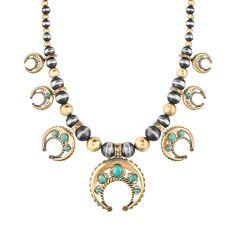 Carolyn Pollack Jewelry | Durango Green Turquoise Mixed Metal Naja Statement Necklace