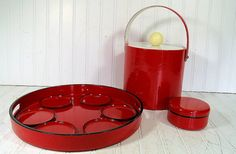 Retro Ruby Red Patent Leather Ice Bucket with Red by DivineOrders, $83.00
