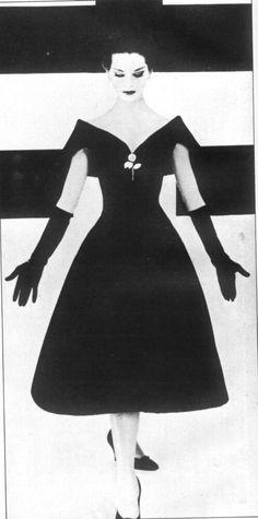 dior-black wool dress1957