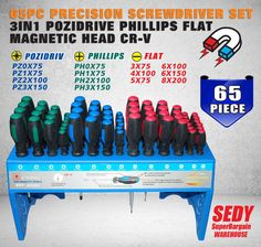 (114.99$)  Buy here  - 65pc Precision Screwdriver Set 3in1 Pozidrive Phillips Flat Magnetic Head CR-V 50204