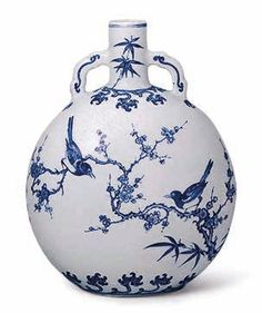 A blue and white Ming-style moonflask, Yongzheng six-character mark in underglaze blue