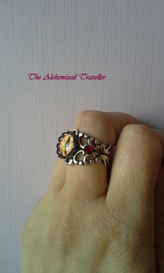 ~Handmade Steampunk Fire Dragon's Eye Antique Silver Adjustable Ring (Mens Version)~Side View