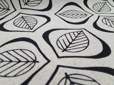 Leaves handprinted fabric - Black.
