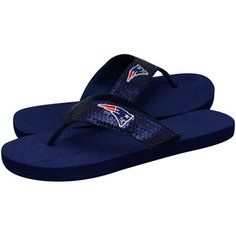 New England Patriots Ladies Navy Blue Sequin Strap Flip Flops