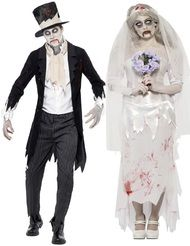 Couples Zombie Bride & Groom Fancy Dress Costumes