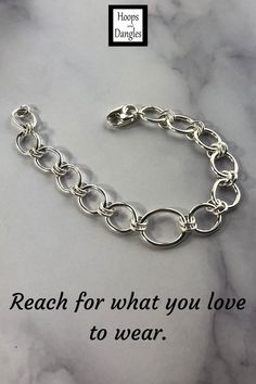 """Handmade sterling silver bracelet of oblong links is 7 inches long with a lobster clasp. These link chain bracelets fall gracefully around the wrist and hand in sterling silver. Size: Length is 7"""" and Largest link width: 1/2"""""""