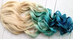 "Mermaid Blonde, Ombre Hair Extensions, dipped in Pastel Blue faded into Ocean Blue, 7 Pieces,22""/Customize your Base"
