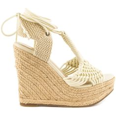Mia Women's Filipa - Off Wht Rope ($80) ❤ liked on Polyvore featuring shoes, sandals, beige, platform wedge sandals, wedge sandals, espadrille sandals, crochet wedge sandals and woven wedge sandals