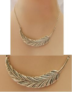 Silver Feather Pendant Necklace Jewelry Handmade Chain Accessories NEW Fashion | eBay