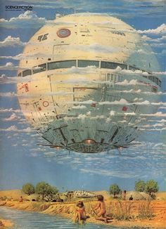 """""""Fantastic Planet"""" by Science Fiction Monthly reader's painting competition winner Peter Elson Cyberpunk, Steampunk, Pin Ups Vintage, Sci Fi Kunst, Science Fiction Kunst, Arte Sci Fi, 70s Sci Fi Art, Arte Tribal, Sci Fi Ships"""