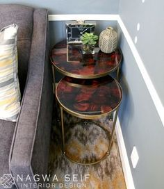 A Cozy Home Office: Moreno Nesting Tables from Crate and Barrel.
