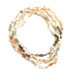 Moonstone & Sterling Triple wrap necklace
