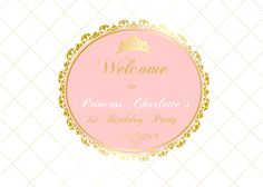 gold and pink princess 1st birtday, baptism, christening, baby shower backdrop, sign poster for dessert buffet, up to 84*60 inch, pdf by PRINTABLEPARTYPAPERS on Etsy