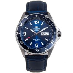 Orient Blue Mako II Automatic Watch with Extra Strap Stylish Watches, Luxury Watches, Sport Watches, Watches For Men, Orient Watch, Skeleton Watches, Automatic Watch, Stainless Steel Bracelet, Calf Leather