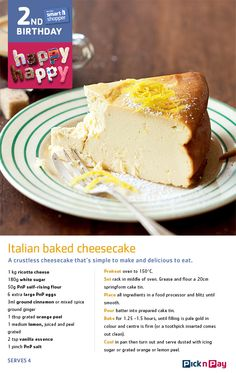 Yes it's true: this month, smart shopper's turning two! We're baking cheesecake, how about you? Fudge Recipes, Cheesecake Recipes, Dessert Recipes, Sweet Pie, Sweet Tarts, Biscuits, Italian Cheese, No Bake Treats, How Sweet Eats