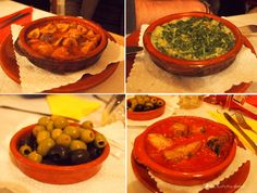 Tapas im O Tapeo in Bonn: Champignons, Scampis in Spinat, Oliven und Hähnchen in Tomatensauce