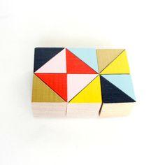 Baisse de prix! || Aimants de bloc de Brooklyn || 6 comptent ensemble || En bois || Géométrique || Bureau et cuisine Decor || Jaune or marine