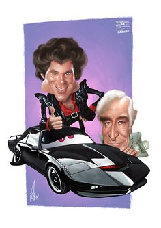 """Caricatura de los protagonistas de la mítica serie de TV """"El coche Fantástico"""", Michael ..."""