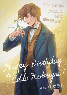 Happy birthday Eddie Redmayne!! January 6th!! - Pickett & Newt from Fantastic Beasts and Where to Find Them by Yuna's Sketchbook