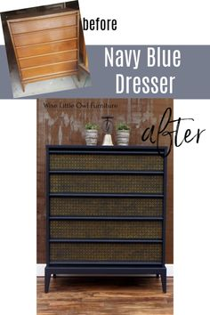 This classic Lane MCM dresser got a modern-day makeover with navy blue paint and a gold stencil. Check out the simple technique and materials list. Navy Blue Dresser, Navy Blue Furniture, Painted Bedroom Furniture, Painted Dressers, Blue Furniture Inspiration, Narrow Dresser, Dixie Belle Paint, Mid Century Modern Furniture, Engineered Wood