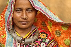 Meghwal tribal woman (Gujarat).    The people of Meghwal tribe are originally from Marwar in Rajasthan. These days they are also found living in western Gujarat near the Pakistan border. In Pakistan, Meghwals mostly live in Tharparker, Badin, Mirpurkhas, and Umerkot districts while in Southern Punjab. Marwar is the region of Rajasthan in India that lies in Thar Desert. By Retlaw Snellac