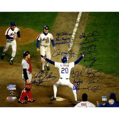 1986 Mets Multi Signed Johnson at Home Plate 16x20 Photo (19 Sigs) MLB Auth)