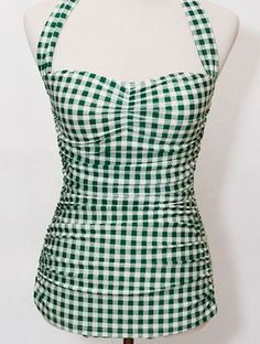 Amazing green gingham Esther Williams pin up retro 50s swimsuit. $76.99